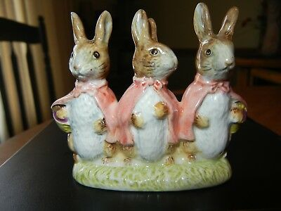 Beatrix Potter FLOPSY MOPSY and COTTONTAIL Porcelain Figurine BESWICK England