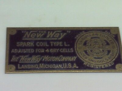 New Way Spark Coil Reproduction Nameplate