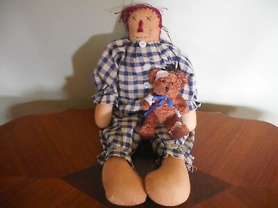 Primitive Look Cloth Doll With Little Bear