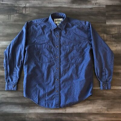 VTG Levis Blue Tab San Francisco Black Pearl Snap Gingham Button Up Size Small