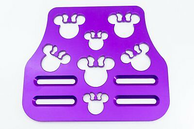 "Mouse Head with Bow Violet  7"" x 6"" Universal Wheelchair Footplate Front Bolt Fi"