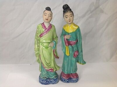 A Pair Chinese Qing Dynasty 19 Th Famille Rose Figure