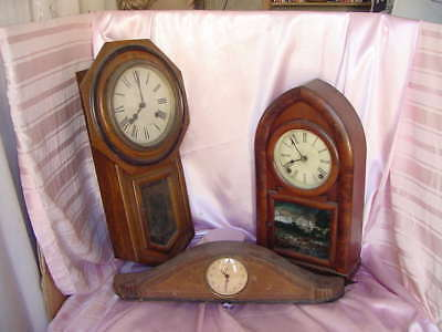3 Antique Wood Clock 1 Mantel Cathedral 1 Wall 1 Deco Case Poor Condition Fixers