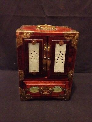 Vintage Wooden Chinese Jewelry Box with Brass and Jade Shanghai Made in China