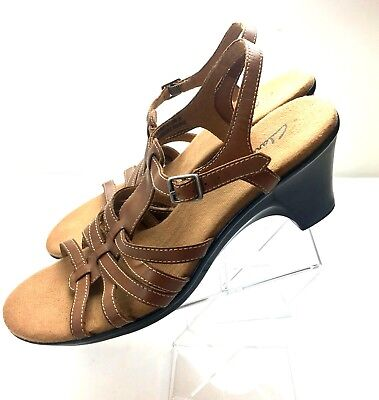 f5c5d0d116 Clarks Brown Leather Strappy Slingback Sandals Women's Size 10M Med Block  Heel