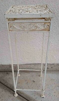 "Vtg Cast Iron Ornate Cut Out Design Corner Table Plant Stand 30"" White 181113"