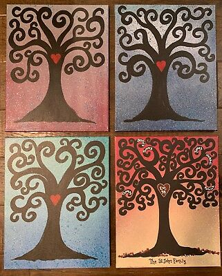 """Custom Painted Family Tree Canvas 16"""" X 20"""" Free Personalization Choose Color"""