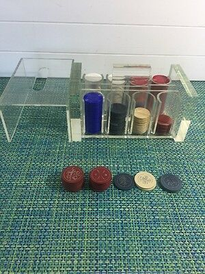 Vintage Lucite Covered Poker Chip Caddy Clay & Plastic Poker Chips Bowling ,Golf