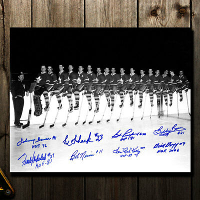 Toronto Maple Leafs 1962 Stanley Cup Champions OVER THE BOARDS Autographed 16x20
