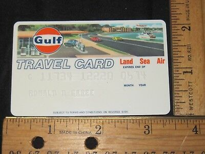 1974 Vtg Clean Unsigned Gulf Travel Card Credit Card Expired 06/ 1974