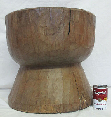 HUGE 19th c Antique Primitive American Frontier ONE LOG Carved Wood Mortar yqz