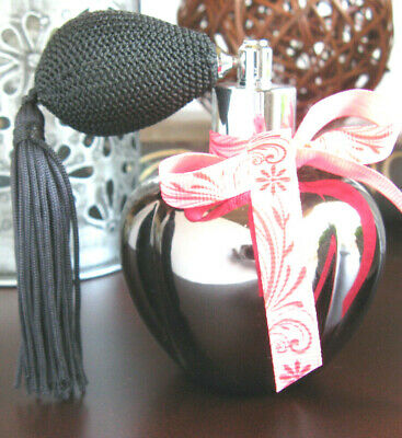 New Grey Metallic Artisan Glass Glamour Posh Perfume Bottle w/ Atomizer Tassel