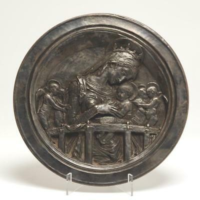 Sterling Silver Weighted Roundel Plate Virgin Mary & Child Pobjoy Mint 1976