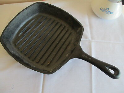 Vintage Emeril Cast Iron Square Skillet, Grill, Camping Cookware