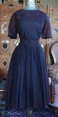 OLD Vintage 1950's 50s full black lace mid century swing dress - LARGE SIZE