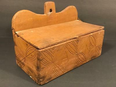 19th C. New England Carved & Painted Hanging Spice Box Wall Box, C. 1860, NR