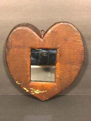Rare Early 19th C. Carved & Painted Heart Shaped Fragment Mirror Looking Glass