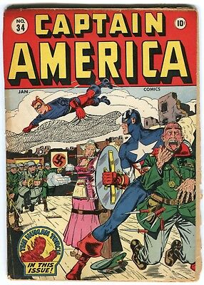 CAPTAIN AMERICA #34  FR/G WW2 Nazi cover Timely
