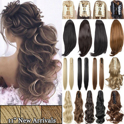 US Post Claw Ponytail Clip On Hair Extension Real Curly Straight Synthetic Brown
