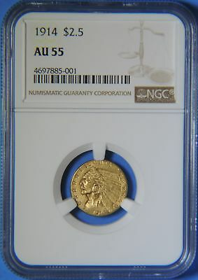1914 P US $2.5 Dollar Indian Head Quarter Eagle GOLD Coin NGC Graded AU55