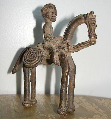 Rare Old African Cast Bronze Tribal Dogon Burkina Statue Sculpture Warrior Horse