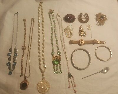 15 Pc Antique & Vintage Lot-Garnets, Sterling, Art Deco, Woodmen of the World