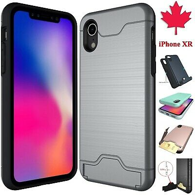 For iPhone XR Case - Wallet Hard Luxury Hybrid Stand Card Slot Cover