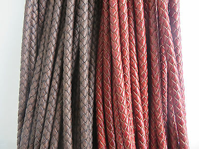 2Meters 6mm Round Bolo Braided Genuine Leather Cord DIY Jewelry Craft String