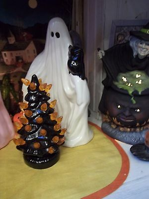 Scary  HALLOWEEN GHOST LIGHT WITH OLD BLACK OWL VTG INSPIRED CERAMIC DECORATION