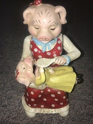 Mother Pig And Baby Pig Feeding Cast Iron Bank