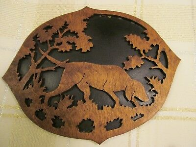 MAN CAVE  English Setter Bird Dog Hunting Dog Wooden carved wall Plaque