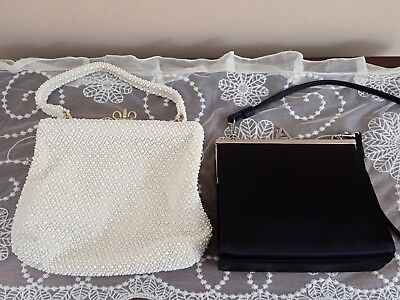 Lot of  Two Vintage Evening Bags BLK Lord & Taylor Ivory Lumured Plastic Beads
