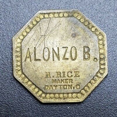 Alonzo B. Saloon Maverick Trade Token H. Rice Maker, Dayton, Ohio OH UNLISTED
