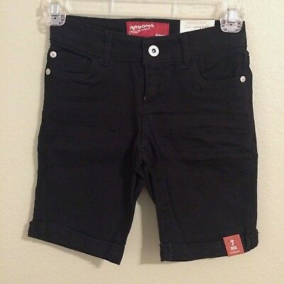 NWT Size 7 Girls Arizona Jean Black Cuffed Adjustable Waist Bermuda Shorts