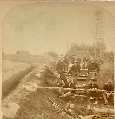 Span Am Philippine Insurrection 1899 Stereoview Photo of Cavalry In Trenches