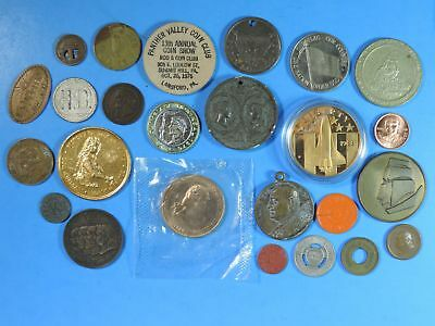 Lot of 25 Tokens & Medals Good For Religious US Mint Space Coal Advertising