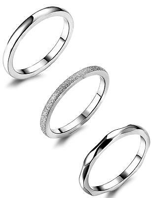 3Pcs 2mm Stainless Steel Women's Stackable Ring Band Engagement Wedding Silver