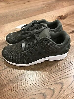 the latest f3109 ae561 NWT WOMENS ADIDAS TORSION ZX FLUX ATHLETIC SHOES Olive Green Shimmer Size 7
