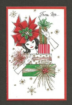 UNUSED '60s GIRL, Red Bow Hat, Stack of Gifts, Gold Accents Christmas Card