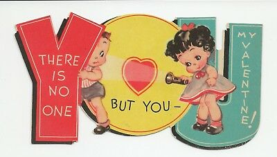 1940s Children's Vintage Valentine Card BOY GIRL DIE-CUT USED