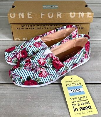 b5c2144f825 New Toms Classic Women s Floral Stripes Slip On Flats Roses White Pink Blue