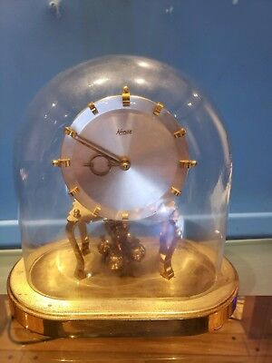 *Vintage  KUNDO 400 DAY ANNIVERSARY SHEF CLOCK OVAL GLASS DOME
