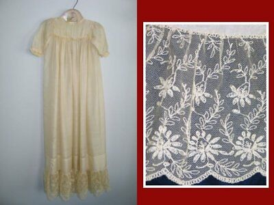 Gorgeous Antique Silk Baby~Doll~Christening~Dress~Hand Made Embroidered Lace