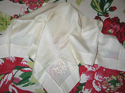 Exceptional c1900 Antique Victorian Silk Hanky Handkerchief Monogram S-Wedding