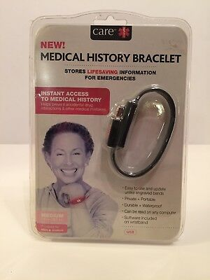 Medical History Bracelet by Care Medium Men and Women Sealed Package