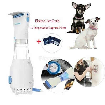 Dog Electric Brush Comb Head Lice Vacuum Pet Cleaning Capture Tool + 3 Filters