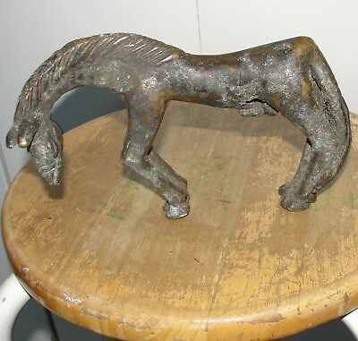 Ancient Solid Bronze Horse Statue African Baule Dogon Mali Benin Old Antique Art