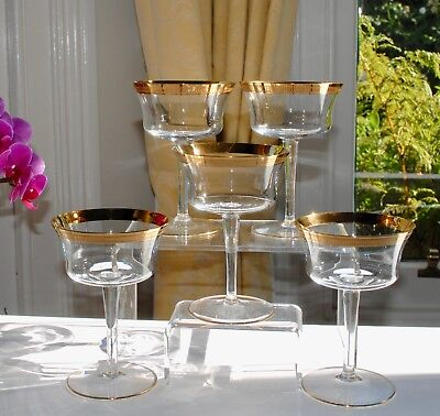 Set of 5 Vintage Champagne Coupes/Sherbets Flared Bowl - Gilt Bands 13.5cm/200ml