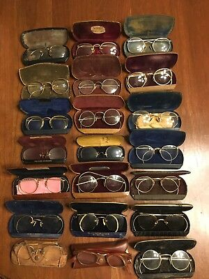 Vintage Some Gold Filled Eyeglasses With Cases Antique Scrap Or Use ~ Lot Of 21