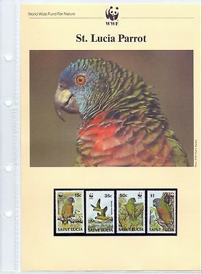 St. Lucia  1987  WWF, Parrot, MNH + 4 FDCs.